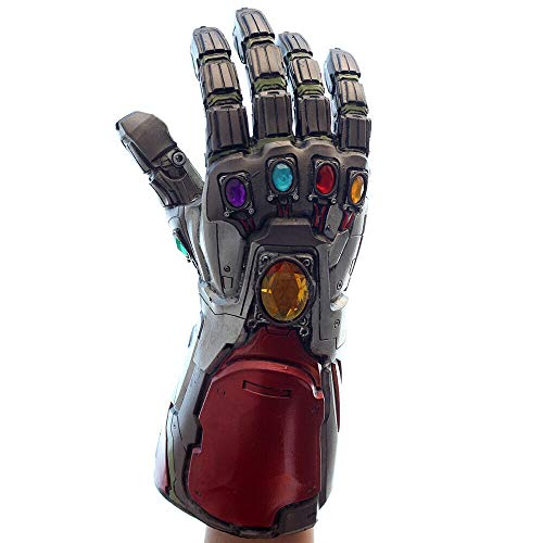 BIRDEU Iron Man Infinity Gauntlet Tony Stark Thanos Guanti in Lattice con Energy Gem Endgame Movie Costume Cosplay Replica per Adulti Uomini Fancy Dress Merchandise del Partito Halloween (Grigio)