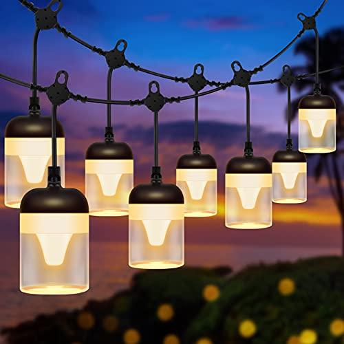 Guirnaldas Luces Exterior, SUWITU 15M Guirnaldas Luminosas de Exterior con 15 LED Bombillas IP65 Impermeable y 8 Modos de Luz Cadena de Luces Exterior Decoración para Exterior, Patio - Blanco Cálido