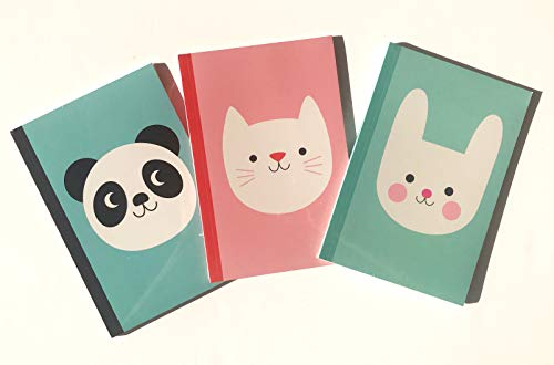 Rex London Notebook/Notizbuch 3er Set DIN A5: Cookie die Katze, Miko der Panda, Bonnie der Hase