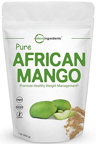 Maximum Strength Pure African Mango Powder (Irvingia Gabonensis Powder, Wild Mango Extract), 1 Pound, Supports Metabolism and Fat Burning, Non-GMO and Vegan Friendly.