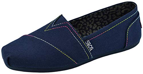 Skechers BOBS from Women's Plush Peace and Love Flat, Navy/Multi, 11 M US