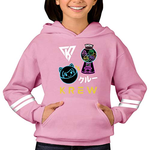 398 Kr-ew Its Cartoon Fun-neh Teenagers' Big Pockets Thickened Hoodie Pullovers Jumper Sports Clothes Pink