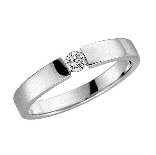 Verlobungsring 375 9 Karat Gelb oder Weißgold Antrag-Ring alle Größen von 48 bis 62 (9 Karat (375) Weißgold, 57 (18.1))