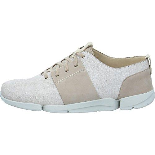 Clarks Damen Tri Caitlin Sneaker, Beige (White Combi Leather), 38 EU