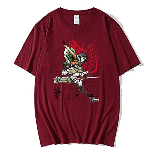 Camiseta para Hombre T-Shirt,Camiseta de algodón de Manga Corta Ataque Diario Gigante de Manga Corta Suelta-Vino Rojo_pequeña