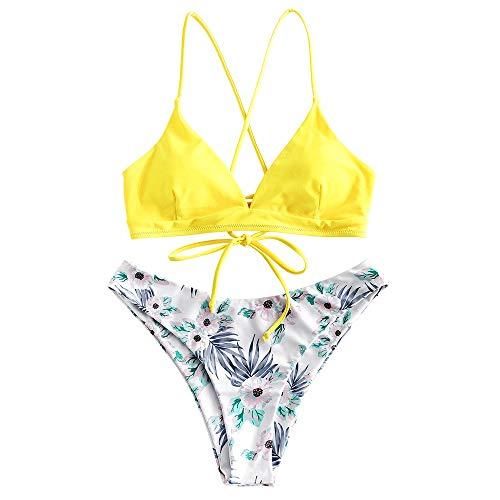 ZAFUL - Bikini con reggiseno regolabile e laccio sulla schiena, a triangolo, con stampa uccelli giallo chiaro L