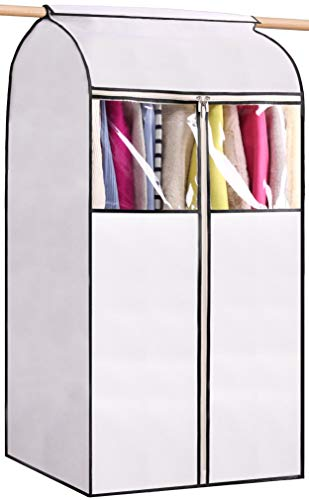 MISSLO Garment Bags for Storage Well Sealed Hanging Clothes Cover with 3 Zippers Large Opening for Dress Coat Jacket Shirts Closet Protector