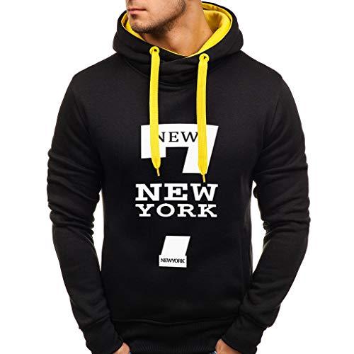 UINGKID Sweat-Shirt à Capuche New York imprimé Hommes,Pull à Manches Longues Impression Coton Hiver Mode Pullover Simple Hoodie Sport pour Casual Top Blouse Grande Taille Outwear Veste