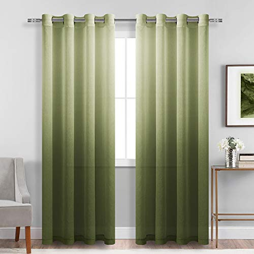 DWCN Faux Linen Ombre Sheer Curtains - Gradient Semi Voile Grommet Top Window Curtains for Bedroom and Living Room, Set of 2 Panels, 52 x 84 Inches Long, Olive Green