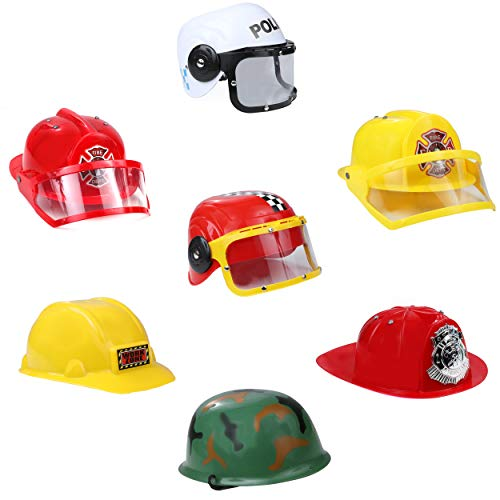 IQ Toys Role Play Dress Up Costume Hats Set of 7 Assorted Party Hats Including Police, SWAT Team, Fire Chief, Army, Construction, Racing Car, and Workers Helmets