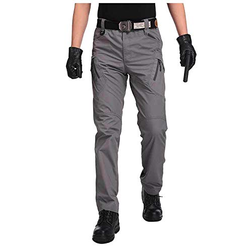 OutTop Men's Tactical Pants with Cargo Pockets Water Repellent Ripstop Cargo Pants Outdoor Hiking Work Pants Sweatpants (Gray, M)