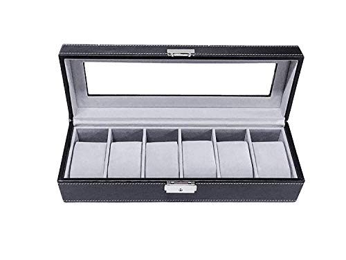 Sodynee Watch Box Watch Case Large 6 Mens Black Pu Leather Display Glass Top Jewelry Case Organizer Box