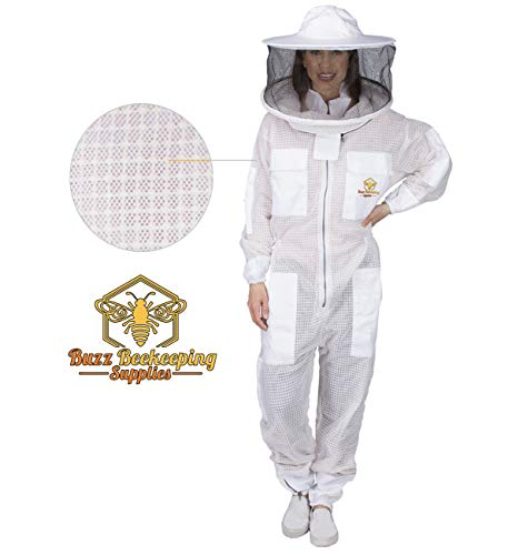 Ventilated Beekeeping Suit and Bee Family Stickers - YKK Metal Zippers - Men & Women - Total Protection - Self-Supporting Round Veil for Beekeepers - Easily Take On & Off - 8 Pockets (Medium)
