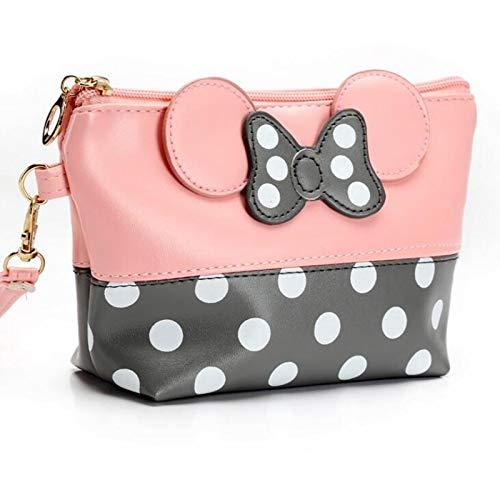 Bolsa de cosméticos multifunción con diseño de arco de dibujos animados para mujer, con cremallera, organizador de maquillaje, bolsa de almacenamiento, bolsas de aseo para niñas (color: rosa gris)