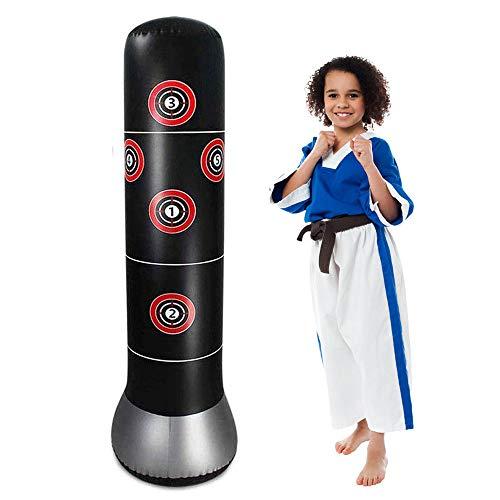 JanTeelGO Boxsack Kinder 160cm, Standboxsack für Sofortiges Zurückprallen zum Üben von Karate, Taekwondo und zur Entlastung von Pent Up Energy bei Kinder (Schwarz)