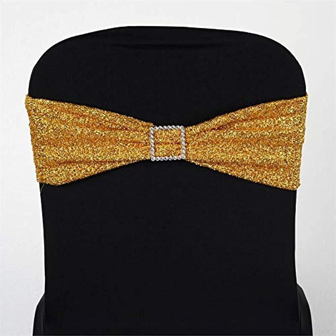 BalsaCircle 10 Gold Metallic Spandex Chair Sashes Bows Ties - Wedding Party Ceremony Reception Decorations Supplies Wholesale