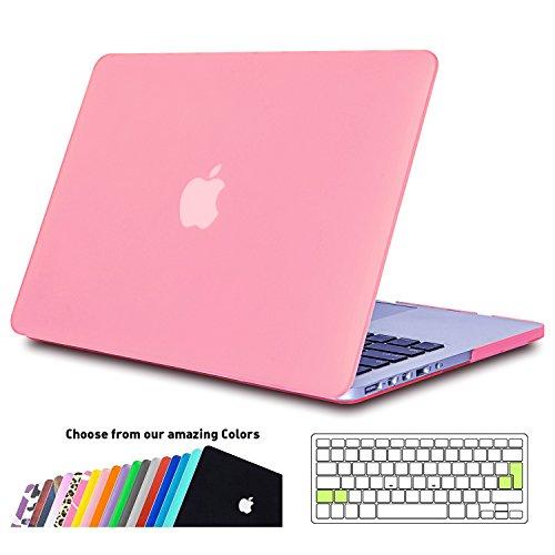 iNeseon Custodia MacBook PRO 13 Retina Cover, Plastica Case Rigida Shell e EU Versione Trasparente Tastiera Copertina per Apple MacBook PRO 13.3 Pollici Modello: A1502 e A1425 (Rosa)