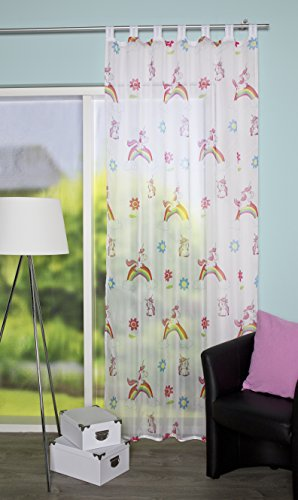 Home fashion - Tenda con passanti, 245 x 140 cm, multicolore