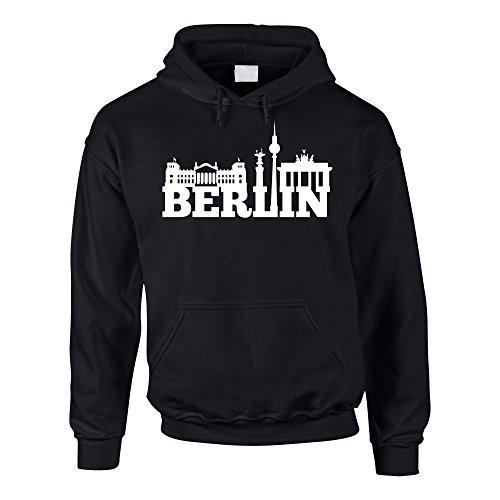 Shirt Department - Herren Hoodie - Berlin Skyline schwarz-Weiss 5XL