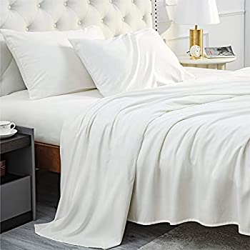 Bedsure Bamboo Sheets Full Size White - Cooling Sheets 4 PC Luxury Bed Sheets Set for Night Sweat with 16 inches Deep Pocket Bamboo Viscose & Polyester