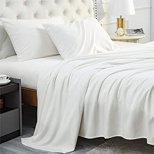 Bedsure Bamboo Sheets King Size White - Cooling Sheets 4 PC Luxury Bed Sheets Set for Night Sweat with 16 inches Deep Pocket Bamboo Viscose & Polyester