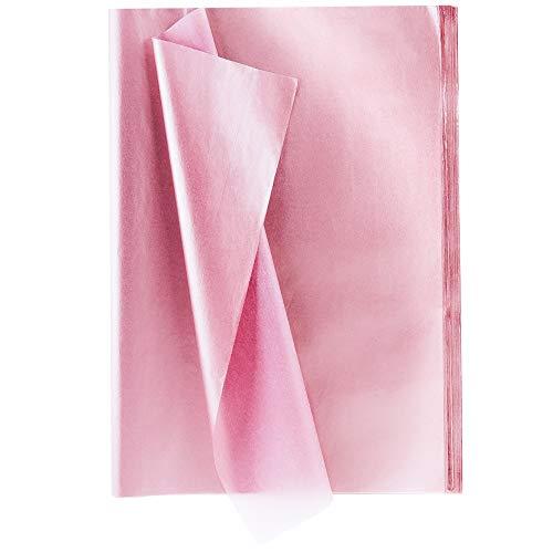 XCOZU 100 Blatt Premium-Qualität Seidenpapier Set, Metallic-Geschenkpapier Rose Rosa für Geburtstag, Hochzeit, Weihnachten(35cm x 50cm)