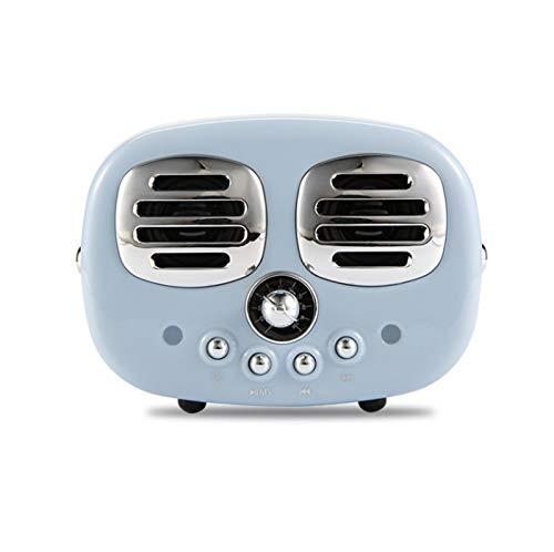 JUNPE Altavoz de Radio estéreo de diseño clásico portátil Bluetooth de Altavoz de Radio para Soporte inalámbrico TF TARD/USB con batería de Litio incorporada (Color : Blue)