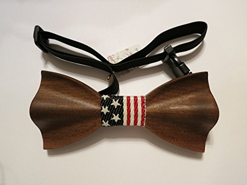 TrendyLuz USA American Flag Patriotic Wooden Bow Tie – Handcrafted Wood Collection