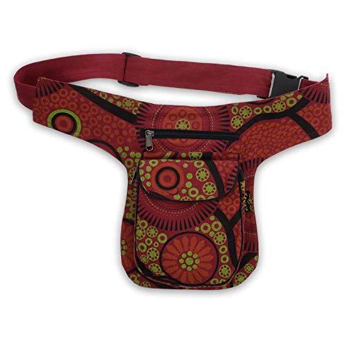 KUNST UND MAGIE Bauchtasche Sidebag Hipbag Mandala-Print Gürteltasche Festivaltasche, Farbe:Bordeaux