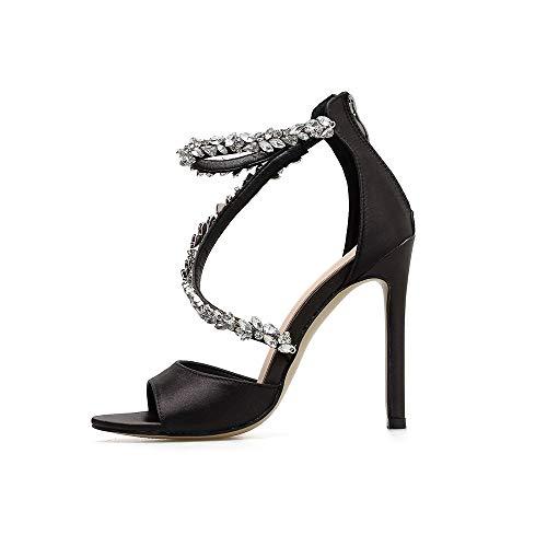 ✿Eaylis Damen Sandalen Strass Spitze Hohe Ferse Einfarbig Sommer Strand Schuhe Hausschuhe Stilvoll und elegant