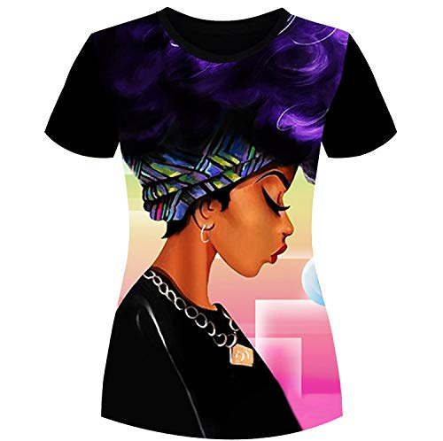 Women's T-Shirts Strong Black Woman Afro Words Art Natural Hair 3D Floral Print T-Shirt Tops for Women Tees XL