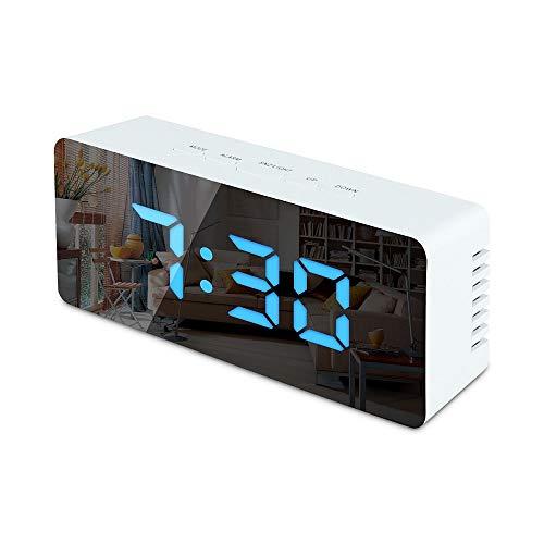 sanlinkee LED Wecker Digital Reisewecker mit Temperaturanzeige Alarm Wecker Spiegel Wecker Snooze USB/Batteriebetrieben Digitaler Tischuhr für Schlafzimmer Büro Nacht Kinder und Erwachsene, Blau