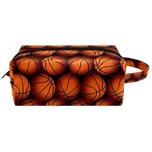 Anmarco Bolsa de cosméticos de viaje con textura de baloncesto para mujer, bolsa de maquillaje, de piel de microfibra con cremallera