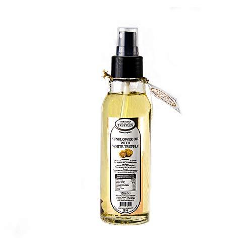 Natürliche Sonnenblumenöl mit Weißen Trüffel, Trüffel öl Sunflower oil with White truffle Premium Gourmet, Luxury oil, Ideal zum Kochen, Servieren, Salaten dressing Spray (100ml)