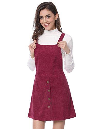 Allegra K Damen A Linie Button Dekor Corduroy Trägerkleid Kleid, M (EU 40)/Burgundy