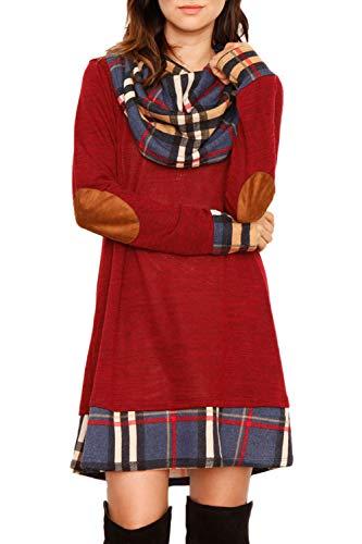 Ancapelion Damen Langarm Minikleid Kariertes Kleid Rollkragen Strickkleid A-Linie Sweater Herbstkleid Lose Kleider Pullover Kleid für Winter Herbst, Rot, S