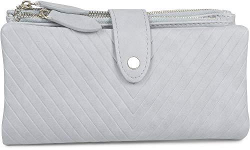 styleBREAKER Damen Portemonnaie mit V-Förmig geprägter Struktur, Druckknopf, Reißverschluss Geldbörse 02040124, Farbe:Hellblau