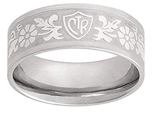 One Moment In Time J125 Size 6.5 Daisy Flower Scroll Stainless Steel CTR Ring Mormon LDS Unisex