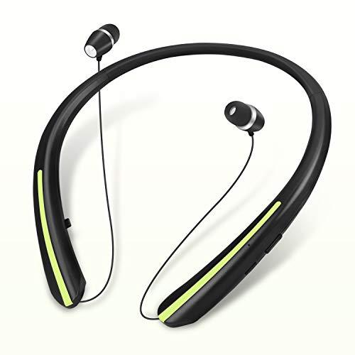 2021 Upgraded Bluetooth Retractable Headphones,Wireless Earbuds Neckband Headset Sports Sweatproof Earphones