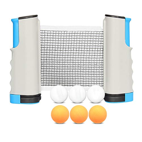 Q&Z Tischtennisnetz,Tragbar Tischtennis Set Einziehbares Netz Ping Pong Ersatznetz Mit 6 TischtennisbäLle Einstellbare LäNge Ideal FüR Kinder Erwachsene Indoor Outdoor AktivitäT,Weiß