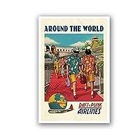 Zhaoyangeng フレンチバンド航空ビンテージポスター旅行世界中を印刷オリジナル壁の装飾レトロ写真キャンバス絵画の装飾-50×70センチ枠なし