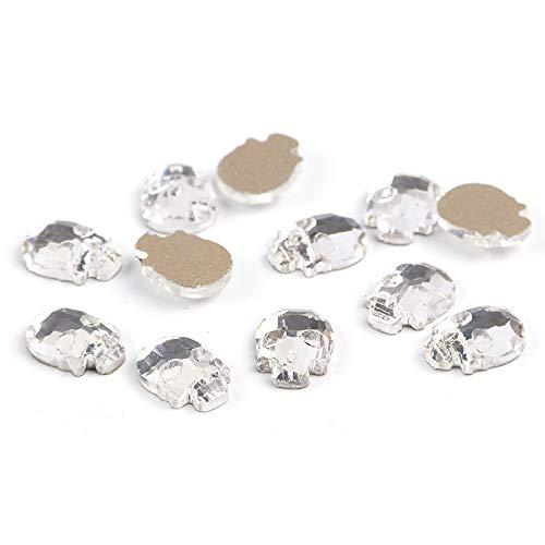Meiyy Nageldecoratie, 10 stuks, kristallen stenen voor nagels, strass, doodskop, diamanten, champagne, sieraden van metaal, steen, grijs, edelstenen, nagels, decoratie, kunstaccessoires Wit.
