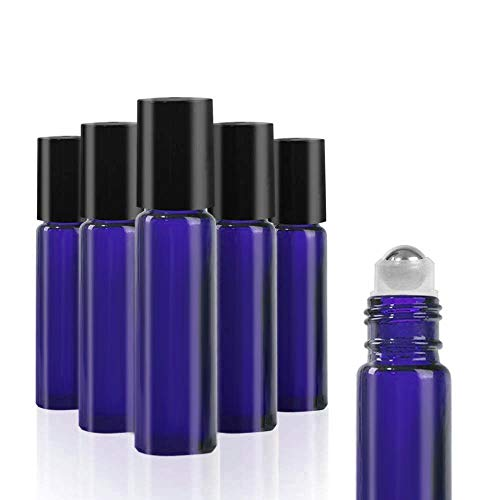 SHiZAK 6 Pack 10ml Glass Roll-on Bottles with Stainless Steel Roller Balls Great Use for Fragrance, Lotion, Aromatherapy Essential Oil, Treatment, and Mosquito Repellent Liquid (Blue)