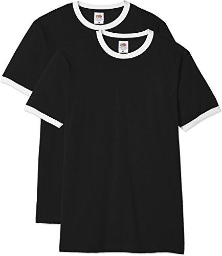 Fruit of the Loom Herren Ringer Premium T-Shirt, schwarz/weiß, XXL (2er Pack)