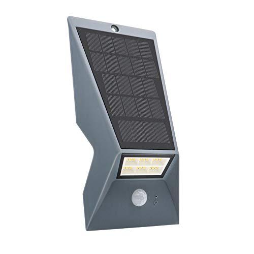 Fesjoy Lámpara de Pared, Lámpara de Pared con Panel Solar IP65 Tres Modos de iluminación Carcasa Negra/Blanca/Gris