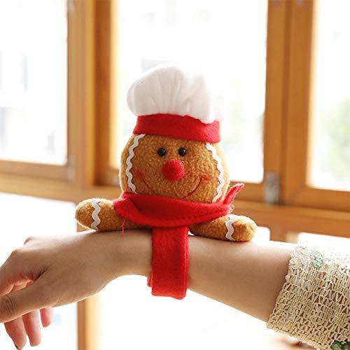 QAQAQ Braccialetto Clap Set di Bracciali Adatto per Bambini Partydecorazioni Natalizie Pop Circle Christmas Snowman Christmas Family Party Peluche Regalo con Cinturino