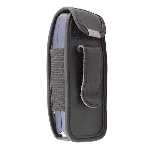 caseroxx Ledertasche mit Gürtelclip für Nokia 3310/3330 aus Echtleder, Handyhülle für Gürtel (mit Sichtfenster aus schmutzabweisender Klarsichtfolie in schwarz)