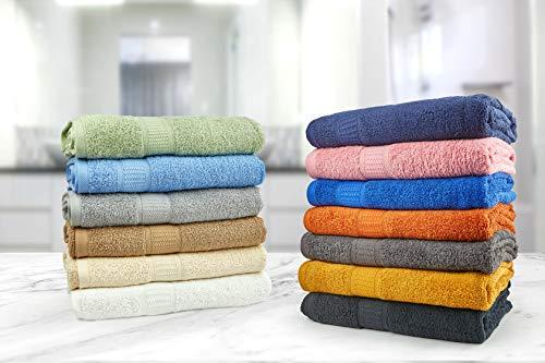Premier Linens - Juego de toallas de mano (500 g/m², 100% algodón), color negro, Colores variados., Pack of 12 face towels