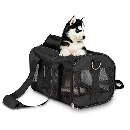 poppypet Transporttasche für Haustiere Tragbar Transportbox für Hund Katze & Kleintier Reißfestem Nylon Faltbare Hundetransportbox Schwarz