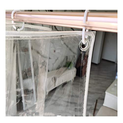 AOTNZ Transparente Lonas, Impermeable Tarea Pesada Cloruro De Polivinilo Lámina De Plástico por Exterior Jardín Balcón Cortina Cubrir con 12 Piezas Conectar Y Cuerdas (Color : Clear, Size : 1.6x8m)